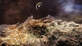 Необыкновенная дистантная концепция ландшафта планеты иллюстрация вектора