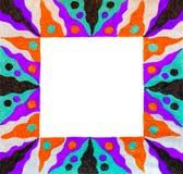 Необыкновенная красочная сделанная по образцу яркой рамка нарисованная свободной рукой Стоковые Фото