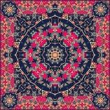 Необыкновенная печать bandana в монгольском стиле с цветками - мандале бесплатная иллюстрация