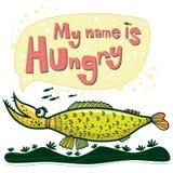 Необыкновенная рыба говорит что ее имя голодно иллюстрация вектора