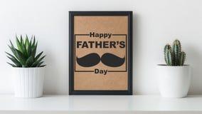 Необыкновенная счастливая предпосылка дня ` s отца Современная поздравительная открытка дня отца кактуса Стоковые Изображения RF
