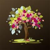 Необыкновенное дерево с пестроткаными листьями покрашено с влиянием красок иллюстрация вектора