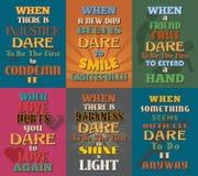 Необыкновенные мотивационные и вдохновляющие плакаты цитат Комплект 10 Стоковые Изображения RF