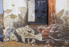 Необыкновенные чертежи на стенах старого здания Стоковая Фотография