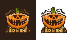 Необыкновенный винтажный логотип хеллоуина с тыквой иллюстрация штока