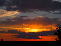 Необыкновенный заход солнца Стоковые Фотографии RF