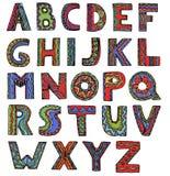 Необыкновенный шрифт вектора в письмах стиля doodle на белом backgroun иллюстрация вектора