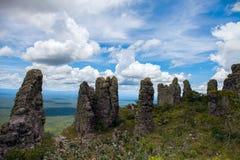 Неоглядная ширь Взгляд от гор Естественные каменные штендеры явление Chiquitania bolivians стоковая фотография