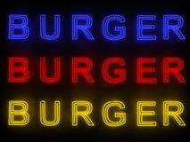 Неоновая вывеска бургера Стоковые Изображения RF