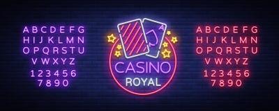 Неоновая вывеска казино королевская Неоновый логотип, эмблема играя в азартные игры, яркое знамя, неоновая реклама казино для ваш бесплатная иллюстрация