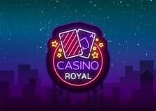 Неоновая вывеска казино королевская Неоновый логотип, эмблема играя в азартные игры, яркое знамя, неоновая реклама казино для ваш Иллюстрация вектора