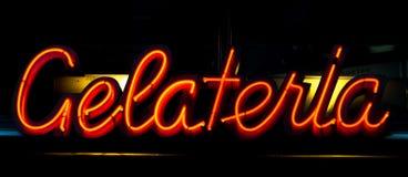 Неоновая вывеска Gelateria Стоковые Изображения RF