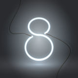 8 неоновая вывеска white-01 Стоковое Изображение