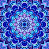 Неоновая голубая геометрическая мандала, растр Стоковые Изображения RF