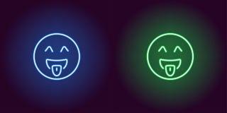 Неоновая иллюстрация дразня emoji зацепляет икону стоковое фото rf