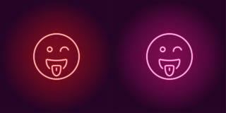 Неоновая иллюстрация дразня emoji зацепляет икону стоковые изображения