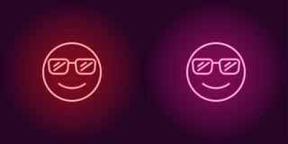 Неоновая иллюстрация крутого emoji зацепляет икону стоковая фотография