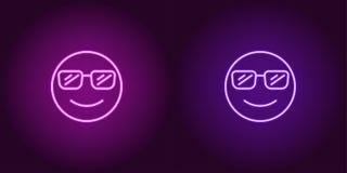 Неоновая иллюстрация крутого emoji зацепляет икону стоковые фотографии rf