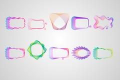 Неоновая несимметричная прямоугольная рамка линий набора Стилизованный guilloche иллюстрация штока