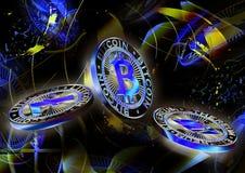 Неоновая предпосылка монетки cryptocurrency Стоковое Изображение