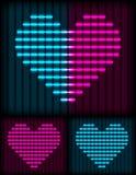 Неоновая предпосылка сердца Стоковое Изображение RF