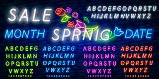 Неоновая продажа алфавита и весны в рамке цветка над предпосылкой кирпича Продажа весны, сезонные товары, эмблема магазина против иллюстрация штока
