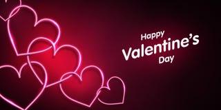 Неоновая форма сердца на темной розовой предпосылке valentines дня счастливые бесплатная иллюстрация