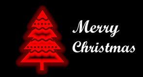 неоновое дерево накаляя в красном цвете с с Рождеством Христовым рождественской открыткой