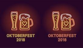 Неоновое знамя праздника Oktoberfest в апельсине Стоковое Изображение RF