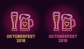 Неоновое знамя праздника Oktoberfest в пинке Стоковые Изображения