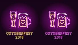 Неоновое знамя праздника Oktoberfest в пурпуре Стоковые Изображения RF
