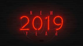 Неоновое знамя сети на счастливый Новый Год 2019 иллюстрация вектора