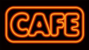 Неоновое накаляя кафе Стоковые Фотографии RF