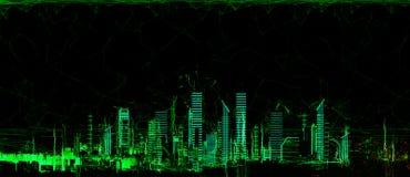 Неоновое свето футуристического города 3d Иллюстрация вектора