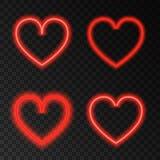 Неоновое сердце красного цвета зарева Стоковая Фотография