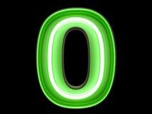 Неоновое шрифт характера 0 алфавита числа зеленого света zero нулевой Иллюстрация штока