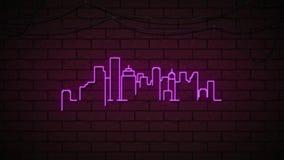 Неоновое scape города в фиолетовой линии сток-видео