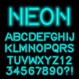 Неоновой шрифт алфавита зарева handcrafted таможней иллюстрация штока
