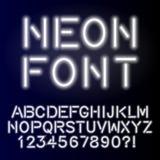 Неоновой шрифт алфавита зарева handcrafted таможней Стоковые Изображения RF