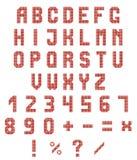 Неоновые алфавит и номера на белой предпосылке красный неоновый градиент также вектор иллюстрации притяжки corel Стоковая Фотография