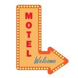 Неоновые винтажные электрические лампочки знака мотеля гостеприимсво знака Стоковая Фотография RF