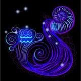 Неоновые вывески зодиака: Водолей Стоковые Фото
