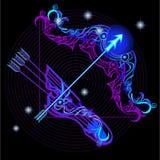 Неоновые вывески зодиака: Стрелец Стоковые Фотографии RF
