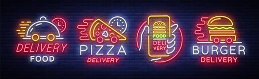 Неоновые вывески комплекта поставки еды Собрание в неоновом стиле, светлое знамя логотипа, яркая реклама ночи для поставки Стоковое Изображение