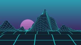 Неоновые горы компьютера решетки полигона видео- с анимацией движения с бургундской луной акции видеоматериалы