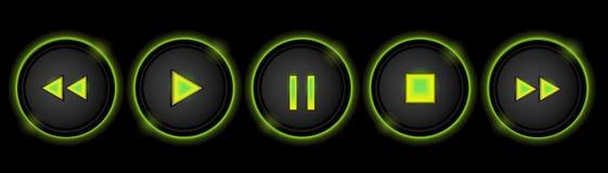 Неоновые кнопки управления Стоковая Фотография RF