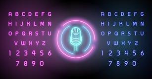 Неоновые накаляя линии, концепция космоса музыки, дизайн обоев предпосылки музыки Редактировать неоновую вывеску текста иллюстрация вектора