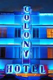 Неоновые света гостиницы колонии, Miami Beach Стоковое Фото