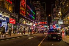 Неоновые света на улице Tsim Sha Tsui Стоковые Изображения RF