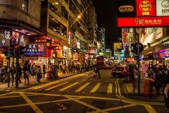 Неоновые света на улице Tsim Sha Tsui Стоковая Фотография RF